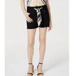 INC 6 Black Printed Tie Waist Shorts NWT BJ67